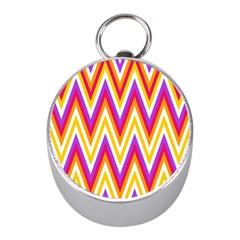 Colorful Chevrons Zigzag Pattern Seamless Mini Silver Compasses by Simbadda