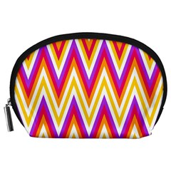 Colorful Chevrons Zigzag Pattern Seamless Accessory Pouches (large)  by Simbadda
