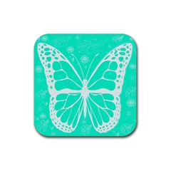 Butterfly Cut Out Flowers Rubber Square Coaster (4 Pack)  by Simbadda