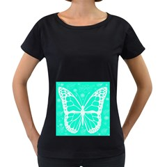 Butterfly Cut Out Flowers Women s Loose-Fit T-Shirt (Black) by Simbadda