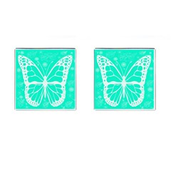Butterfly Cut Out Flowers Cufflinks (square) by Simbadda
