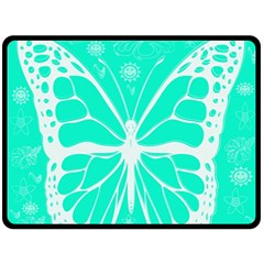 Butterfly Cut Out Flowers Fleece Blanket (large)  by Simbadda