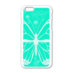 Butterfly Cut Out Flowers Apple Iphone 6/6s White Enamel Case by Simbadda
