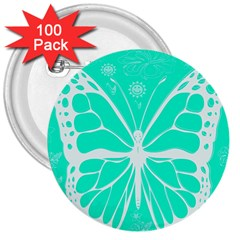 Butterfly Cut Out Flowers 3  Buttons (100 Pack)  by Simbadda