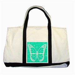 Butterfly Cut Out Flowers Two Tone Tote Bag by Simbadda
