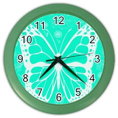 Butterfly Cut Out Flowers Color Wall Clocks by Simbadda