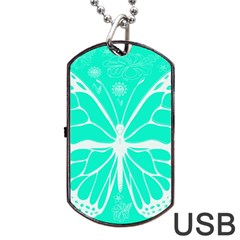 Butterfly Cut Out Flowers Dog Tag Usb Flash (two Sides) by Simbadda
