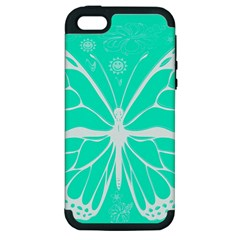 Butterfly Cut Out Flowers Apple Iphone 5 Hardshell Case (pc+silicone) by Simbadda