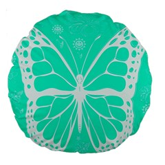 Butterfly Cut Out Flowers Large 18  Premium Round Cushions by Simbadda