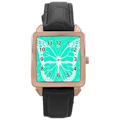 Butterfly Cut Out Flowers Rose Gold Leather Watch  by Simbadda