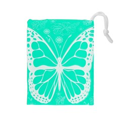 Butterfly Cut Out Flowers Drawstring Pouches (large)  by Simbadda