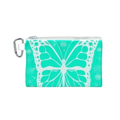 Butterfly Cut Out Flowers Canvas Cosmetic Bag (s) by Simbadda