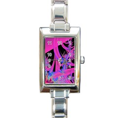 Fractal In Bright Pink And Blue Rectangle Italian Charm Watch by Simbadda