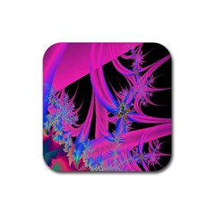 Fractal In Bright Pink And Blue Rubber Square Coaster (4 Pack)  by Simbadda