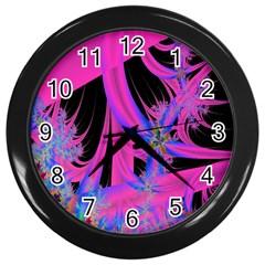 Fractal In Bright Pink And Blue Wall Clocks (black) by Simbadda