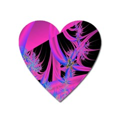 Fractal In Bright Pink And Blue Heart Magnet by Simbadda