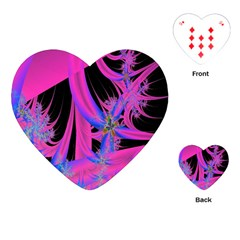 Fractal In Bright Pink And Blue Playing Cards (heart)  by Simbadda