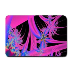 Fractal In Bright Pink And Blue Small Doormat  by Simbadda