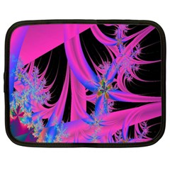Fractal In Bright Pink And Blue Netbook Case (xl)  by Simbadda
