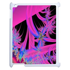Fractal In Bright Pink And Blue Apple Ipad 2 Case (white) by Simbadda