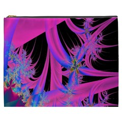 Fractal In Bright Pink And Blue Cosmetic Bag (xxxl)  by Simbadda