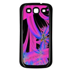 Fractal In Bright Pink And Blue Samsung Galaxy S3 Back Case (black) by Simbadda