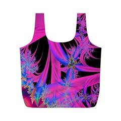 Fractal In Bright Pink And Blue Full Print Recycle Bags (m)  by Simbadda