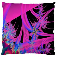 Fractal In Bright Pink And Blue Large Flano Cushion Case (one Side) by Simbadda