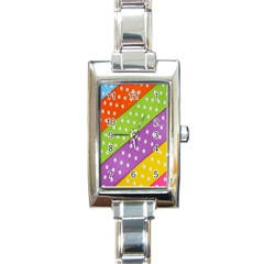 Colorful Easter Ribbon Background Rectangle Italian Charm Watch by Simbadda