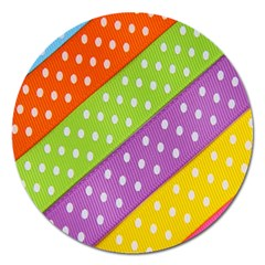 Colorful Easter Ribbon Background Magnet 5  (round) by Simbadda