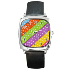 Colorful Easter Ribbon Background Square Metal Watch by Simbadda