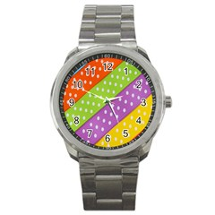 Colorful Easter Ribbon Background Sport Metal Watch by Simbadda