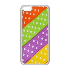 Colorful Easter Ribbon Background Apple Iphone 5c Seamless Case (white) by Simbadda