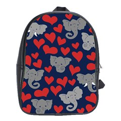 Elephant Lover Hearts Elephants School Bag (xl) by BubbSnugg