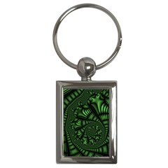Fractal Drawing Green Spirals Key Chains (rectangle)