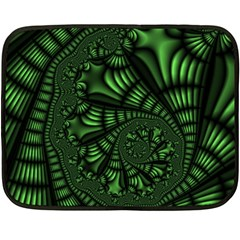 Fractal Drawing Green Spirals Double Sided Fleece Blanket (mini)  by Simbadda
