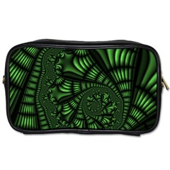 Fractal Drawing Green Spirals Toiletries Bags by Simbadda