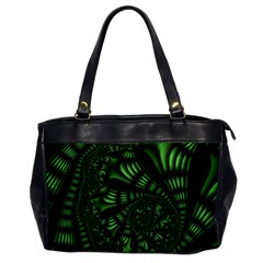 Fractal Drawing Green Spirals Office Handbags by Simbadda