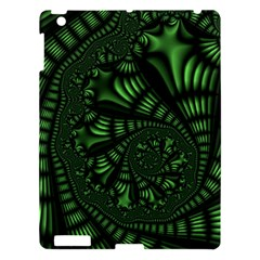 Fractal Drawing Green Spirals Apple Ipad 3/4 Hardshell Case by Simbadda