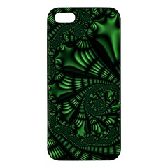 Fractal Drawing Green Spirals Apple Iphone 5 Premium Hardshell Case by Simbadda