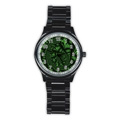 Fractal Drawing Green Spirals Stainless Steel Round Watch by Simbadda