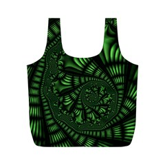 Fractal Drawing Green Spirals Full Print Recycle Bags (m)  by Simbadda