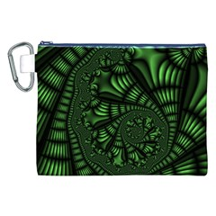 Fractal Drawing Green Spirals Canvas Cosmetic Bag (xxl) by Simbadda