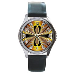 Fractal Yellow Butterfly In 3d Glass Frame Round Metal Watch by Simbadda