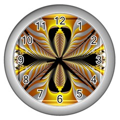 Fractal Yellow Butterfly In 3d Glass Frame Wall Clocks (silver)  by Simbadda