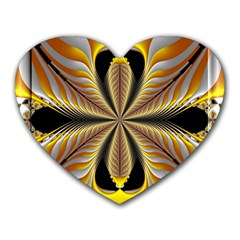 Fractal Yellow Butterfly In 3d Glass Frame Heart Mousepads by Simbadda