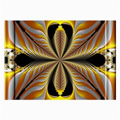 Fractal Yellow Butterfly In 3d Glass Frame Large Glasses Cloth by Simbadda