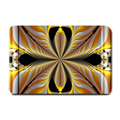 Fractal Yellow Butterfly In 3d Glass Frame Small Doormat  by Simbadda