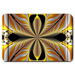 Fractal Yellow Butterfly In 3d Glass Frame Large Doormat  by Simbadda