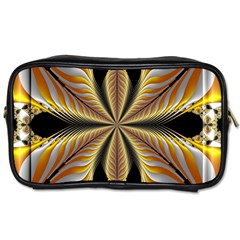 Fractal Yellow Butterfly In 3d Glass Frame Toiletries Bags 2 Side by Simbadda